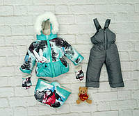 Детский зимний комплект, костюм тройка комбинезон для девочки до 2-х лет