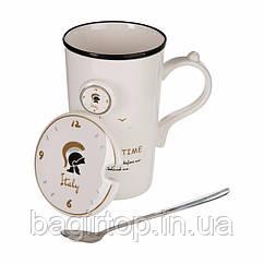 Чашка керамическая с крышкой и ложкой ROME