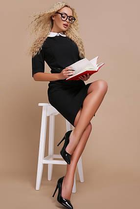 Деловое платье миди полуприталенное с воротником рукав короткий черное, фото 2