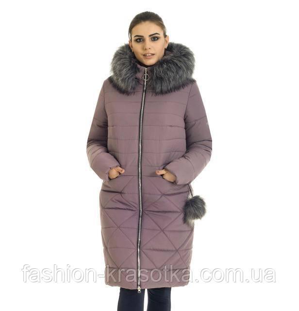 Модный женский зимний  пуховик цвет пудра в размерах 42-56
