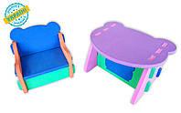 """Детский комплект стол и стул """"Baby desk"""" Eva-Line разноцветный 1 сорт"""