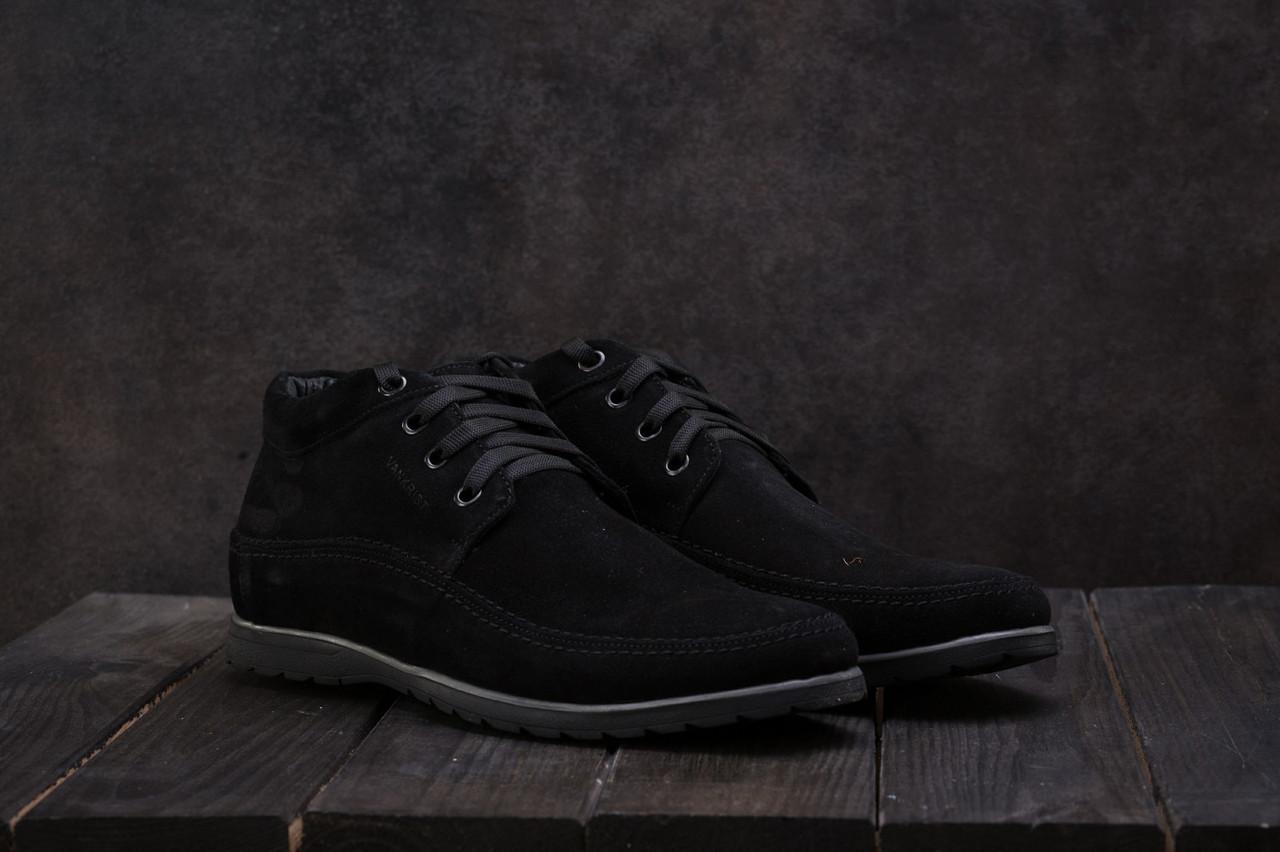 Мужские зимние ботинки VanKristi зимние низкие классические на меху (черные), ТОП-реплика