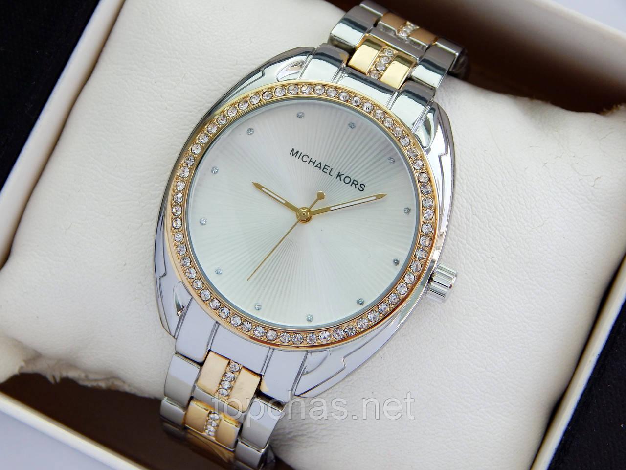 114d1df4 Женские наручные часы Michael Kors серебро-золотого, стразы вокруг  циферблата и на браслете