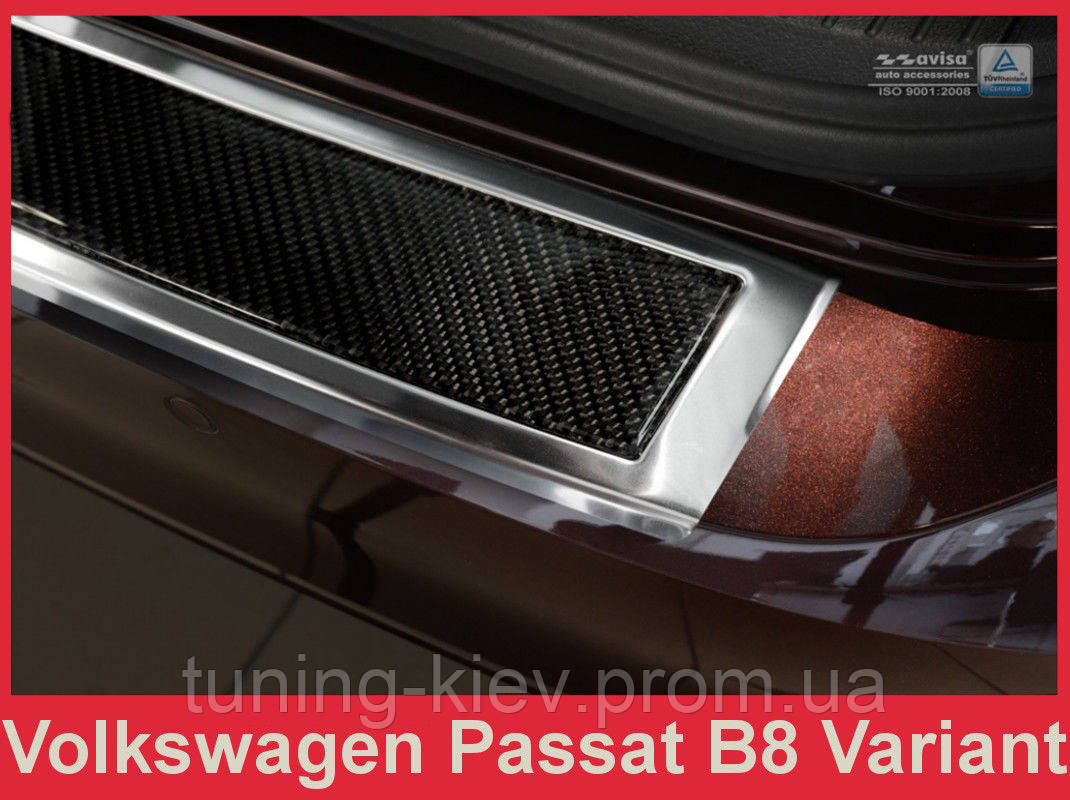 Накладка на бампер с загибом Volkswagen Passat B8 Variant (kombi), сталь+carbon