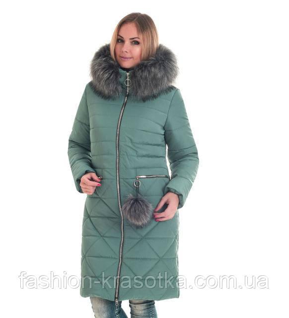 Женский зимний пуховик мятного цвета  с искусственным мехом в размерах 42-56