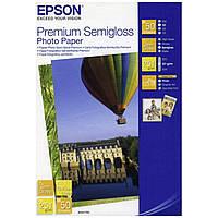 Фотобумага Epson Premium Semigloss Photo Paper полуглянцевая 251г/м кв, 10х15см, 50л (C13S041765)