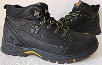 Jack Wolfskin мужские зимние стильные ботинки сапоги Джек Вольфскин реплика черная кожа, фото 1