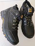Jack Wolfskin чоловічі стильні зимові черевики чоботи Джек Вольфскин репліка чорна шкіра, фото 8