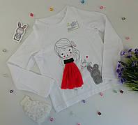 Джемпер для девочек Со сменным декором Белый Хлопок Модный карапуз Украина 128 см, 8 лет