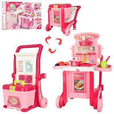 Кухня 008-927 на колесах, 59, 5-47-42, 5 см, чемодан, посуда, продукты 3 в 1