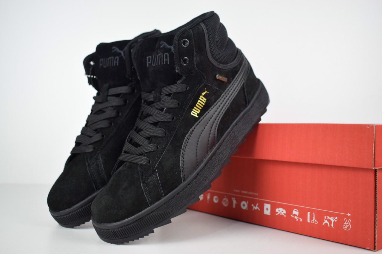 Зимние женские кроссовки Puma Suede высокие черные полностью 3176 40  размера, ... 3cef6cd3a16