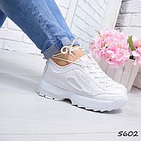 Кроссовки женские Fila Raptor  S белые + персик 5602 спортивная обувь, фото 1