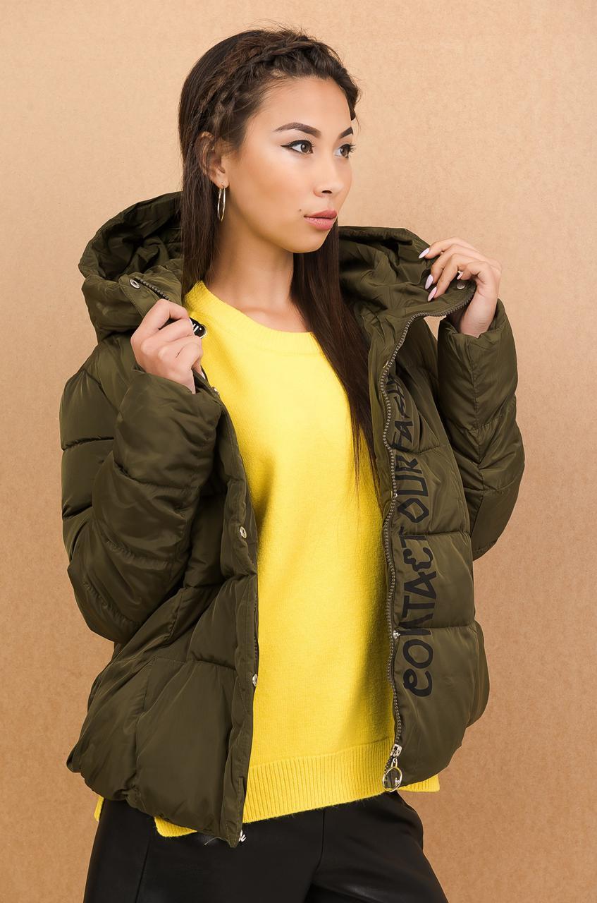 Болоньевая женская куртка с капюшоном