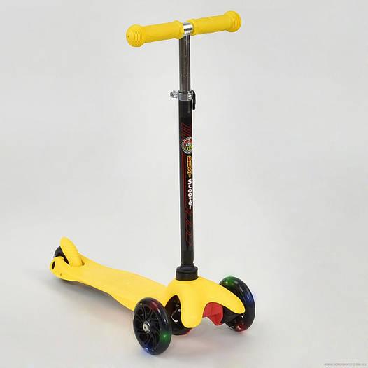 Самокат детский трехколесный Best scooter MINI со светящимися колесами, желтый от 2 лет