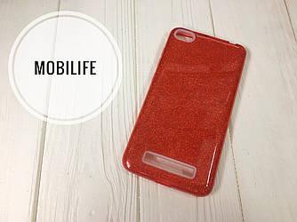 Силиконовый чехол Xiaomi 4A красный с блестками