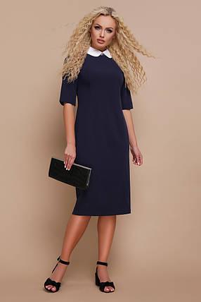 Офисное платье средней длины полуоблегающее с воротником рукав короткий темно синее, фото 2