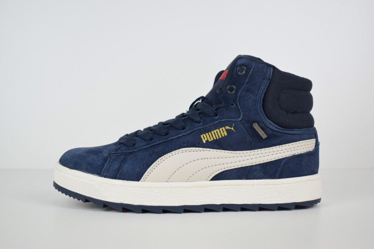 Зимние женские кроссовки Puma Suede высокие синие 3174 - Компания