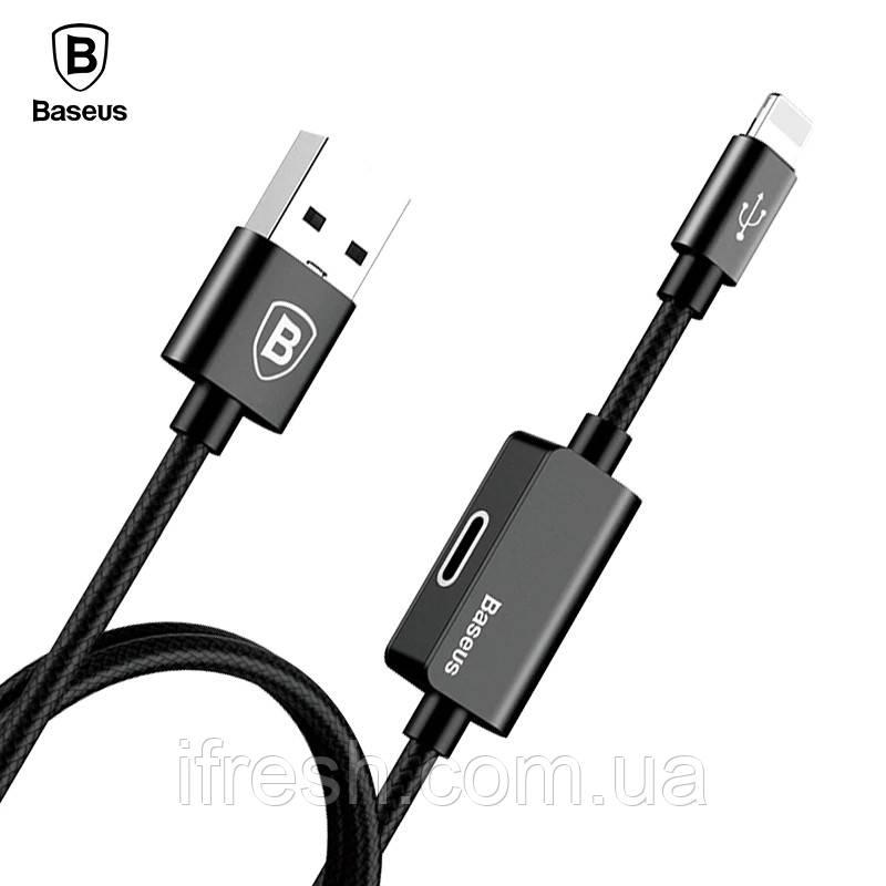 Кабель переходник двойник Baseus USB для iPhone 2A 1m CALYU-01