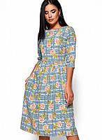 Женское расклешенное платье с цветочным принтом (Эмилия kr)