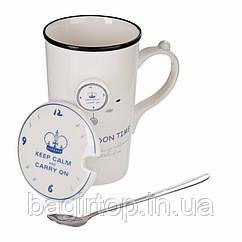 Чашка керамическая с крышкой и ложкой Лондон