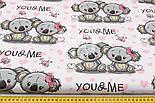 """Ткань хлопковая """"Коалы и розовые сердечки"""" на белом (№ 1515), фото 3"""