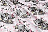 """Ткань хлопковая """"Коалы и розовые сердечки"""" на белом (№ 1515), фото 4"""