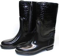 Сапоги резиновые женские утепленные Valex 4640 Black Reptile - Зимняя резиновая обувь.