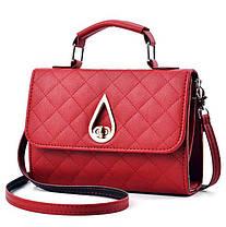 Модная стеганая сумка сундук с оригинальной застежкой каплей, фото 3