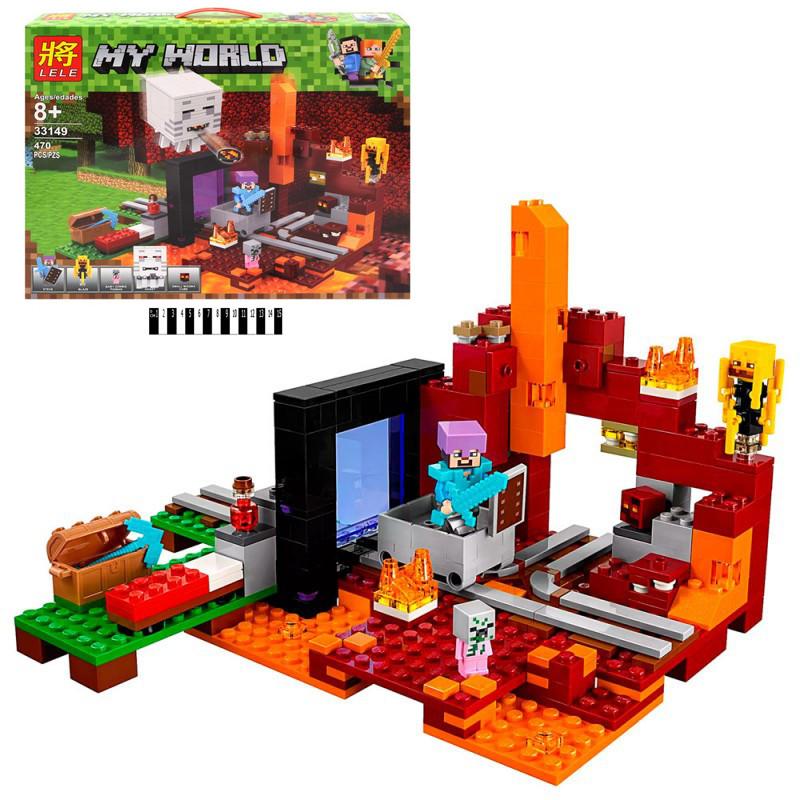 Конструктор по мотивам игры Майнкрафт (Minecraft) Портал в нижний мир, фигурки, 470 деталей, 33149