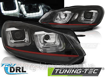 Передние фары VW GOLF 6 08-12 U-TYPE BLACK RED LINE DRL