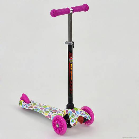 Самокат трехколесный Best scooter MINI, с рисунком для девочки от 2 лет