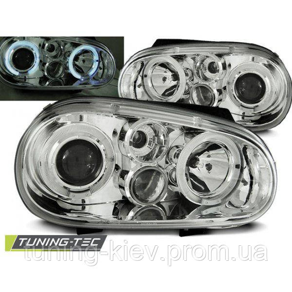 Передние фары VW GOLF 4 09.97-09.03 ANGEL EYES CHROME