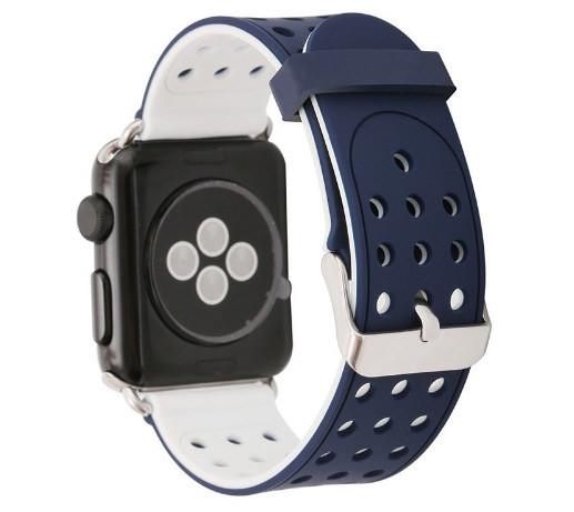 Подвійний ремінець з перфорацією Primo для Apple Watch 42mm / 44mm - Navy Blue&White