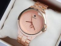 Наручные часы Gucci цвета розовое золото, с узором на циферблате, фото 1