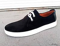 Кроссовки кеды мужские замшевые черные 40 -45 р-р, фото 1