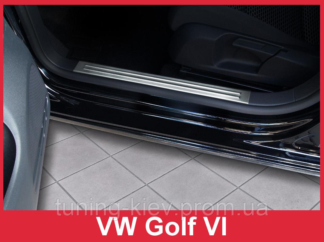 Накладки на пороги из нержавеющей стали Volkswagen Golf VI (5 дверей, Variant) внутренние
