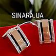 Серебряные родированные запонки с золотом и эмалью - Мужские запонки серебро, фото 2