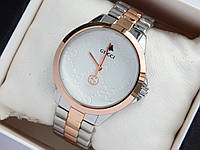 Наручные часы Gucci цвета серебро-розовое золото, с узором на циферблате