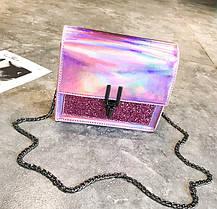 Отличная голографическая сумка сундук на цепочке, фото 2