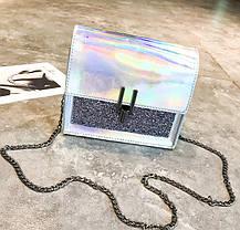 Отличная голографическая сумка сундук на цепочке, фото 3