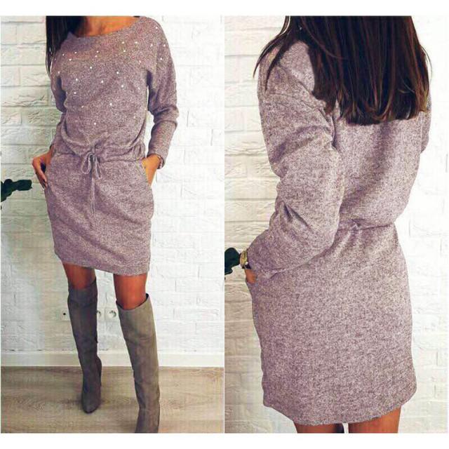 Теплое платье с бусинками