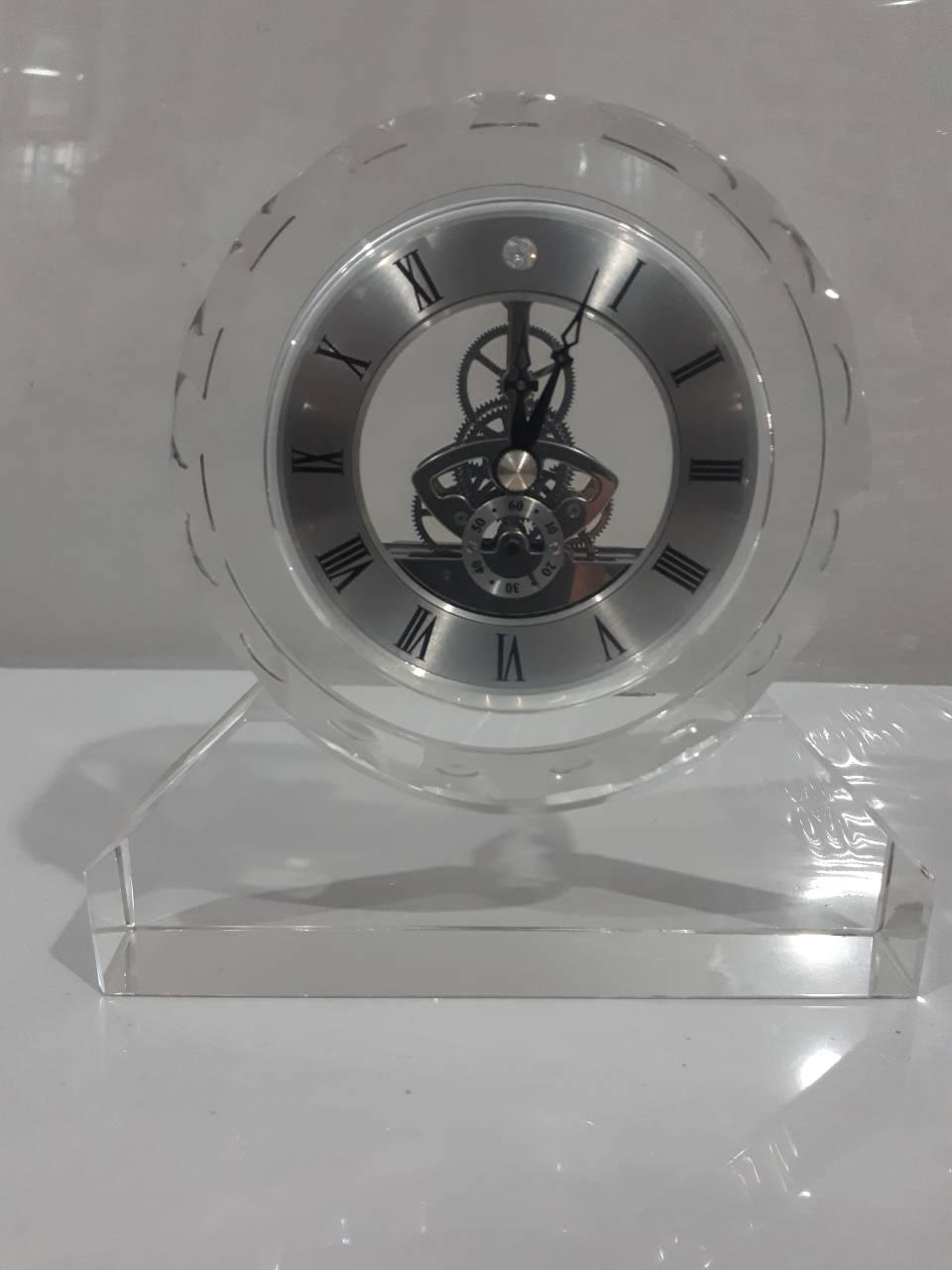 """Стеклянные настольные интерьерные часы """" Скелетон """" (07352)"""