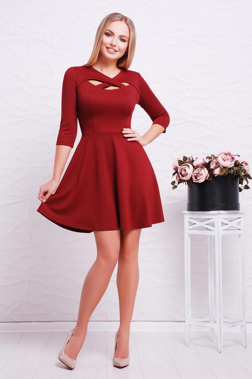 Нарядное платье мини юбка солнце клеш рукав три четверти красивое декольте бордовое