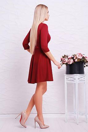 Нарядное платье мини юбка солнце клеш рукав три четверти красивое декольте бордовое, фото 2