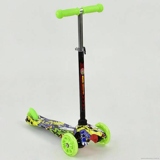 Самокат детский трехколесный Best scooter MINI, с граффити салатовый от 2 лет