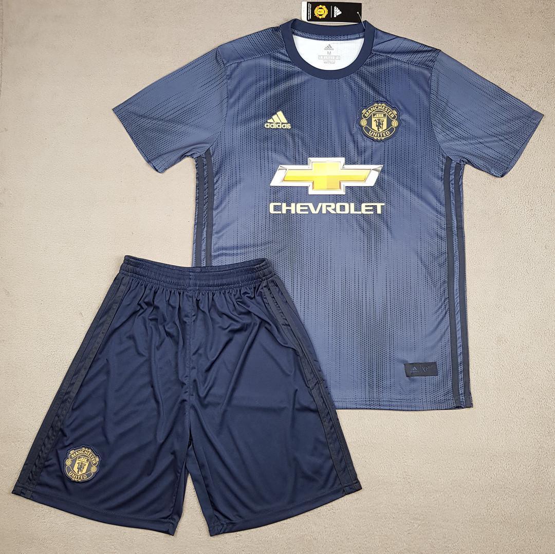 Футбольная форма Манчестер Юнайтед сезон 2018-2019 резервная темно-синяя