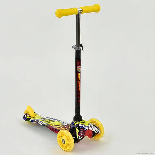Самокат детский трехколесный Best scooter MINI, с граффити желтый от 2 лет