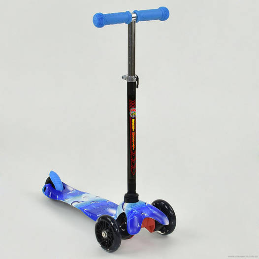 Самокат детский трехколесный Best scooter MINI, синий с дельфинами от 2 лет