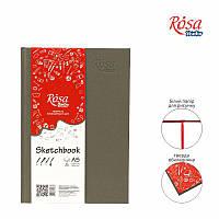 Блокнот А5 (14,8*21см) Белая бумага100г/м 96л Серая обложка ROSA Studio16R5002