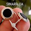 Круглые серебряные запонки с ониксом и золотом, фото 3